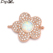 Pipitree Trendy Copper Cubic Zirconia White Fire Opal Flower Charms fit Bracelet Jewelry Making DIY Charm Connectors 2019 New(China)