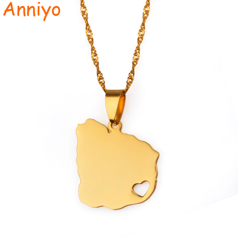 Anniyoc Uruguay Map Pendant & Necklaces for Women Gold Color Charm Uruguayan Maps Jewelry Patriotic Gifts #017721