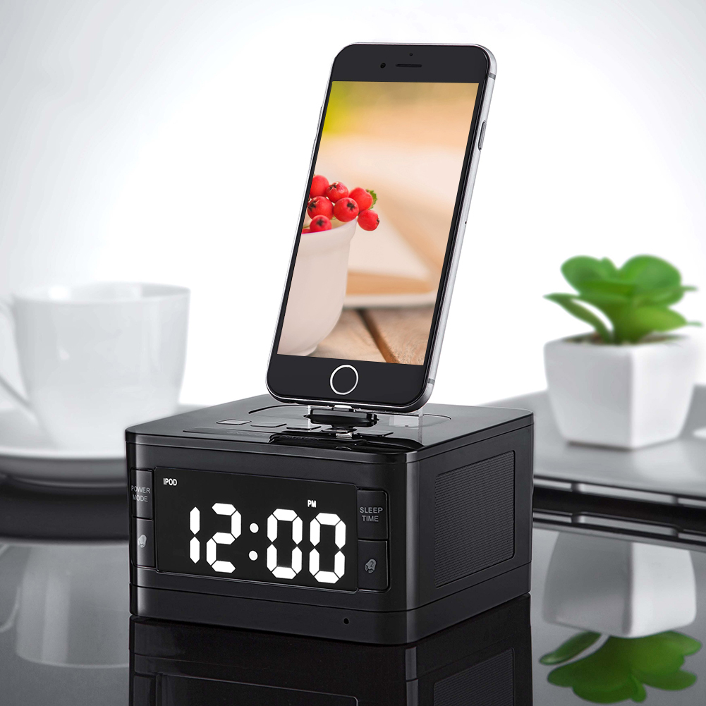 8 Pinos Carregador de Rádio Reloj Despertador Despertador de Música Portátil de Áudio sem fio Bluetooth Speaker para iPhone SE 5S 5C 6 6 s Plus