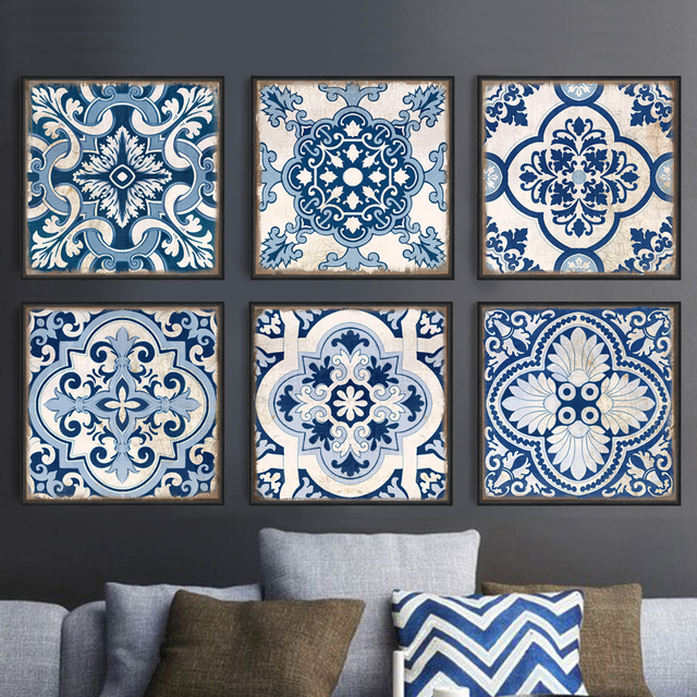 Chinese Style Blue And White Porcelain Moroccan Pattern Modern