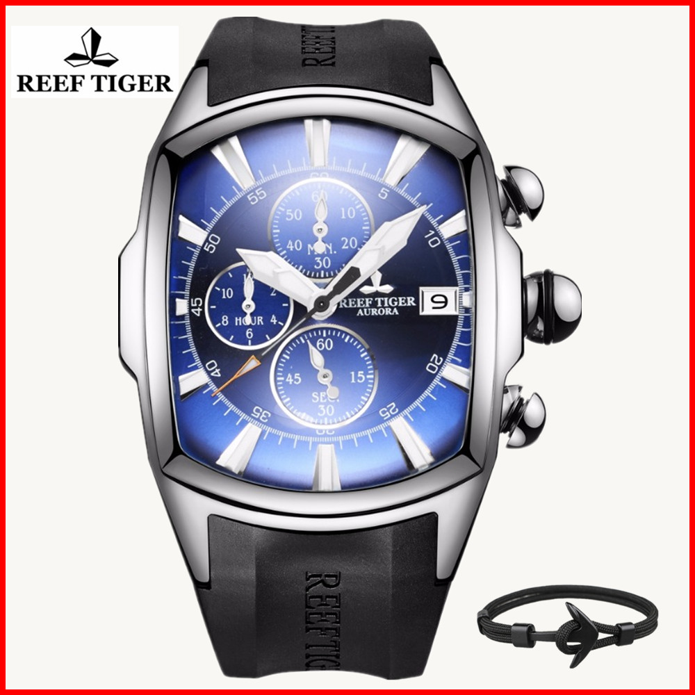 Reef Tiger/RT Luxury Brand Sports Watches Fashion Waterproof Stainless Steel Blue Dial Mens Mechanical Watch Relogio Masculino 機械 式 腕時計 スケルトン
