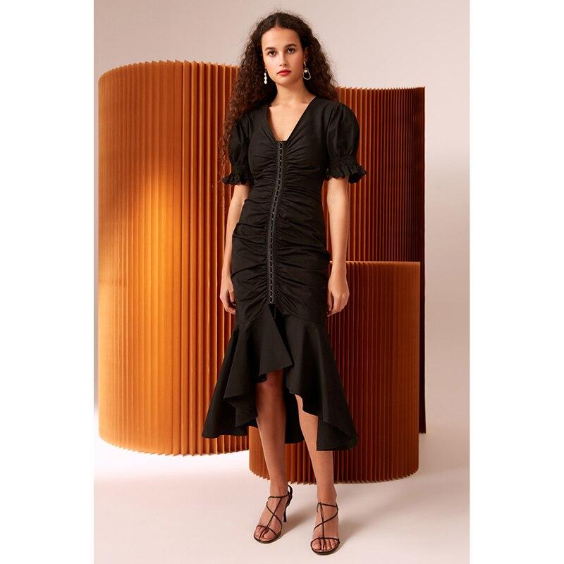 149b0c894b De-HAUTE-QUALIT-Nouvelle-Mode-2019-Designer-Piste-Robe -Femmes-Manches-Courtes-Col-V-Rivet-Sir.jpg
