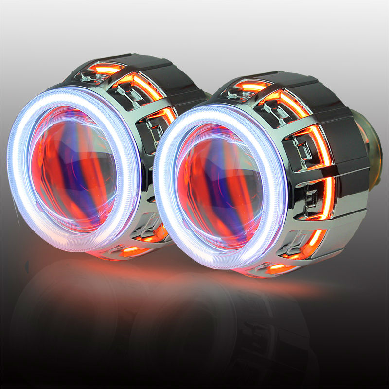 double angel eyes bi-xenon projector lens lamp with HID H1 H4 H7 9005 9006 hid projector lens in car light source royalin car styling hid h1 bi xenon headlight projector lens 3 0 inch full metal w 360 devil eyes red blue for h4 h7 auto light