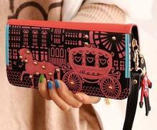 Preppy style Novelty Hot selling 2018 women zipper leather cute carriage designer long wallet bolsa feminina
