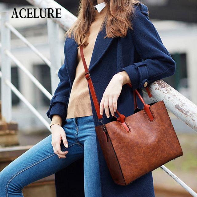 ACELURE Luxurious 3-piece Suit Women Shoulder Bag Large Capacity Female Handbag Retro Lady Leather Big Tote with Crossbody Bag