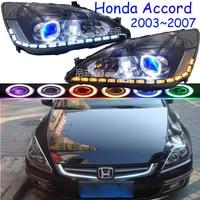 RHD Тюнинг машины с левым рулем для Honda Accord фары автомобиля 2003 ~ 2007 Accord 7th фар DRL Bi Xenon объектив Высокий Низкий луч парковка
