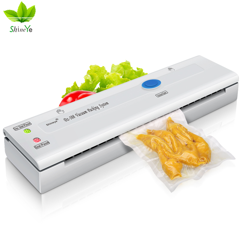 ShineYe DZ-108 220V/110V Household Food Vacuum Sealer Packaging Machine Mini Automatic Vacuum Packer With 10Pcs Vacuum Bags shineye 220v 110v household food vacuum sealer packaging machine film sealer vacuum packer including bags kit dz 320