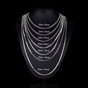 Image 4 - 35cm 80cm 3mm gerçek katı saf 925 ayar gümüş kutusu zincir Kolye kadın erkek takı Collier Kolye collares kapalı beyaz Ketting