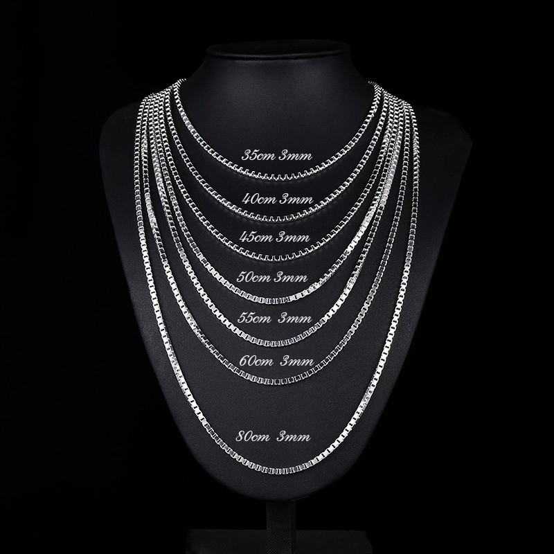 Image 4 - 7Size Available Real Pure 925 Sterling Silver Box Chain Necklace  Women Men Jewelry collier kolye collares off white ketting 3mmketting  manketting womenketting 925