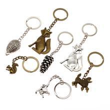 Vintage Keychain Key Ring Pig Souvenir Bag Charm Fox Animal High Quality Gifts For Men