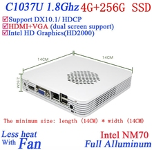 Promotional mini pc windows linux 4G RAM 256G SSD Celeron 1037U dual core 1.8G HD Graphics DX10.1 HDCP support alluminum