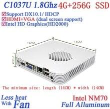 Рекламные мини-пк с windows linux 4 Г RAM 256 Г SSD Celeron 1037U dual core 1.8 Г HD Graphics DX10.1 поддержка HDCP alluminum