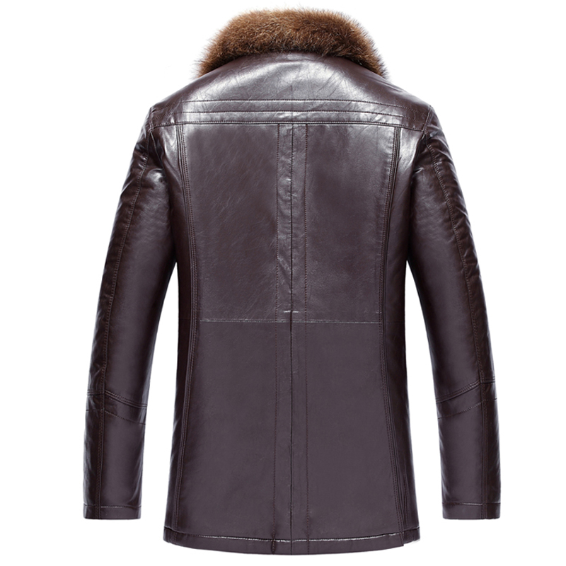 Male Leather fur outerwear European Style Clothing sheepskin Winter Men 39 s fur collar fleece lined Faux Leather jacket Warm Coat in Faux Leather Coats from Men 39 s Clothing