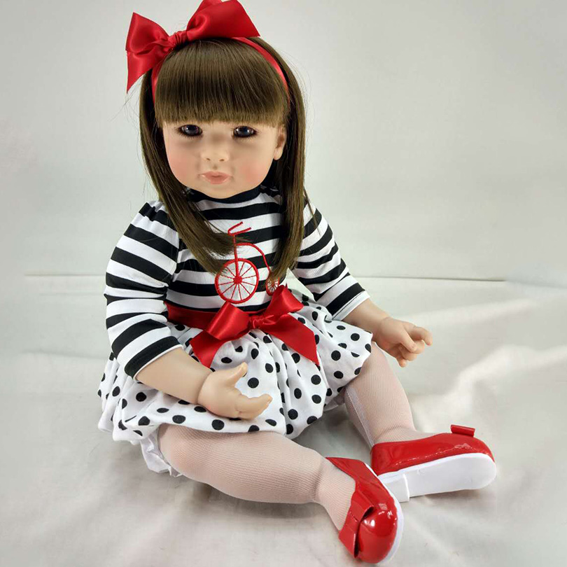 50cm Simulation Babe Doll With Lovely Dress Pasted Wig Hair Silicone For Safe House Toys Fashion Educational Collection Boneca ...