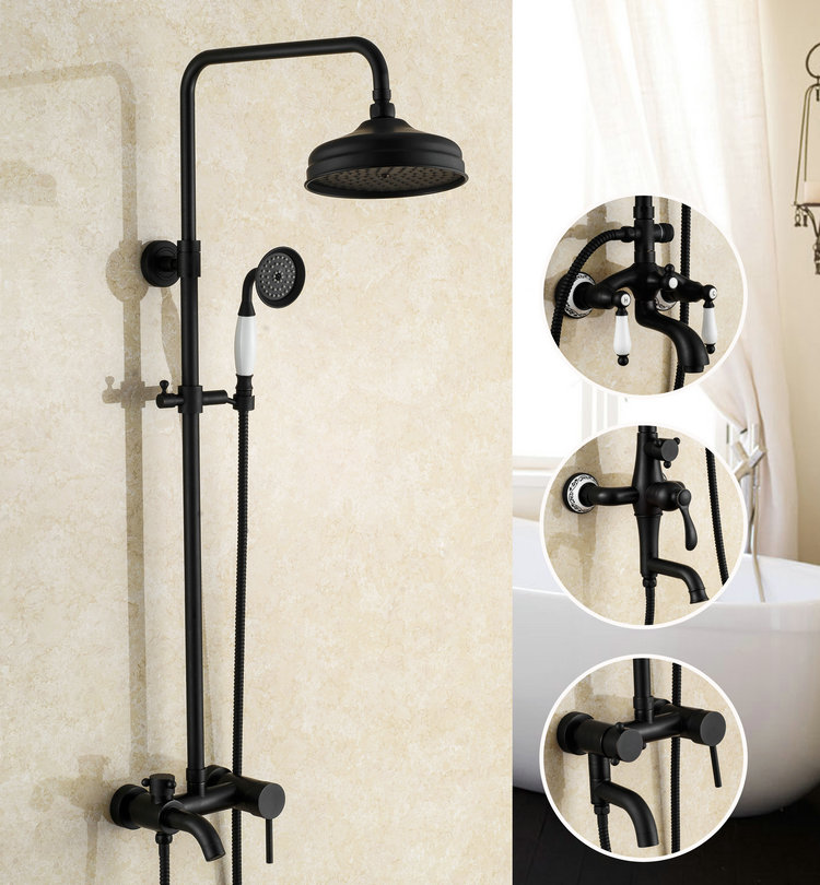 Ensemble de douche en laiton massif peinture noire Antique pour salle de bain ensemble de douche mural 8