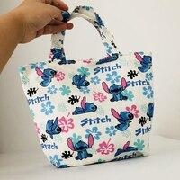 cool 1PCS Cute STITCH Fashion Portable Canvas Lunch Bags Cartoon Picnic Bag Food Box Tote Storage For Women unisex