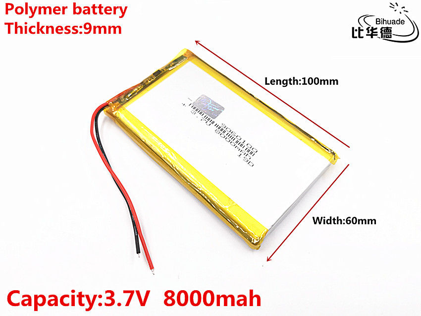 Good Qulity 3.7V,8000mAH <font><b>9060100</b></font> Polymer lithium ion / Li-ion battery for tablet pc BANK,GPS,mp3,mp4 image