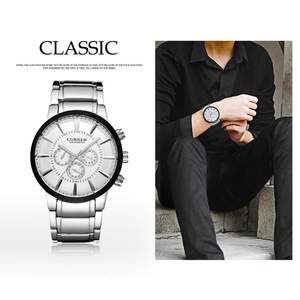 Image 3 - Curren Fashion Big dial Casual quartz watch Mens stainless steel Military Wristwatch waterproof Brand Relogio Masculino Male