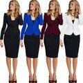 2017 Capa Del Resorte Párrafo Corto Slim Sola Fila de Dos Botones las mujeres Trajes de Negocios Oficina Formal Trajes de Trabajo Más El Tamaño Xxxxl Xxxl