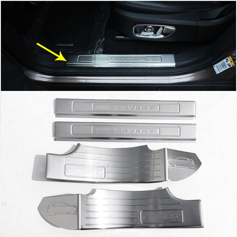 Stainless Steel Door Sill Protector Plate For Land Rover Discovery Sport 7 Seats 2015-2017 Car Accessories 4pcs black silver stainless steel car outside rear bumper guard plate for land rover discovery sport 2015 2018 car accessories