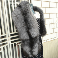 Brand Besty Women Real Natural Silver Fox Fur Shawls Collar Lady Luxury High Quality Genuine Big Long Silver Fox Fur Shawl Cape