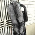 Marca Besty Xales Das Mulheres Real Natural Silver Fox Fur Collar Lady de luxo de Alta Qualidade Genuine Big Longo Silver Fox Fur Xaile Do Cabo