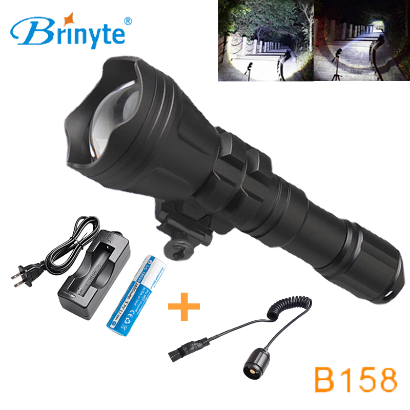 Brinyte B158 High Power Torch Flashlight Cree XM-L2 U4 LED Hunting Flashlight Zoomable Hunting Torch with Battery and Charger led tactical flashlight 501b cree xm l2 t6 torch hunting rifle light led night light lighting 18650 battery charger box