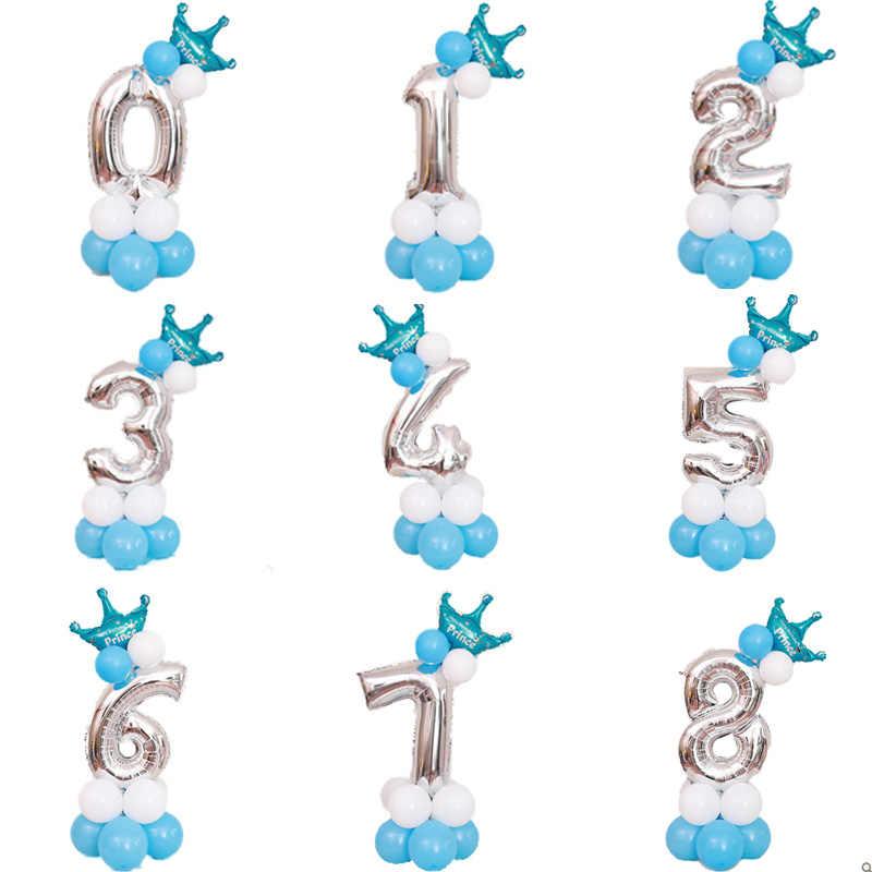 MMQWEC 32/40 polegada número da folha de Prata conjunto dígitos 0-9 crown hélio balões de aniversário balão de ar menino ou menina fontes do partido de aniversário