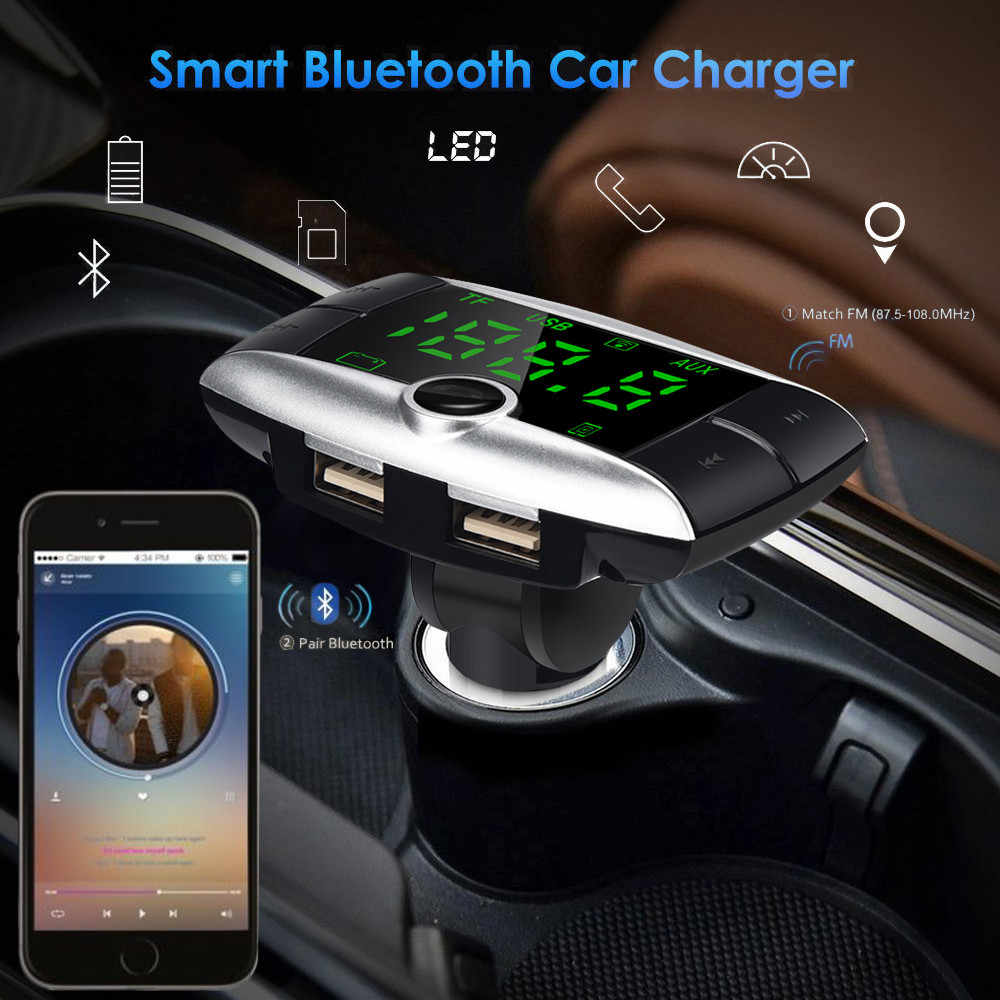Multifunction Wireless Bluetooth FM Transmitter Modulator Car Kit MP3 Player Dual USB Charger Fashion Car Styling Accessories