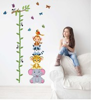 Cute Tiger Animals Stack Height Measure Wall Stickers Decal Kids Adhesive Vinyl Wallpaper Mural Baby Girl