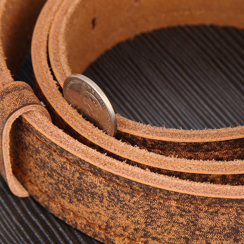 Dinisiton Pria Belt Bahasa Italia Sapi Sabuk Kulit Retro Vintage Koboi Tali Kulit Asli untuk Pria Kualitas Tinggi Mewah Sabuk QFS01
