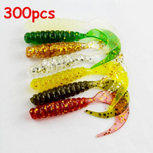 Free shipping 300pcs/lot Grub fishing lures soft artificial fishing lures single circle tail grubs