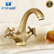 FYPARF Basin Faucet Bathroom Faucet Mixers Water Tap Cold and Hot Basin Mixer Antique Brass Basin Taps Faucet for Bathroom Sink