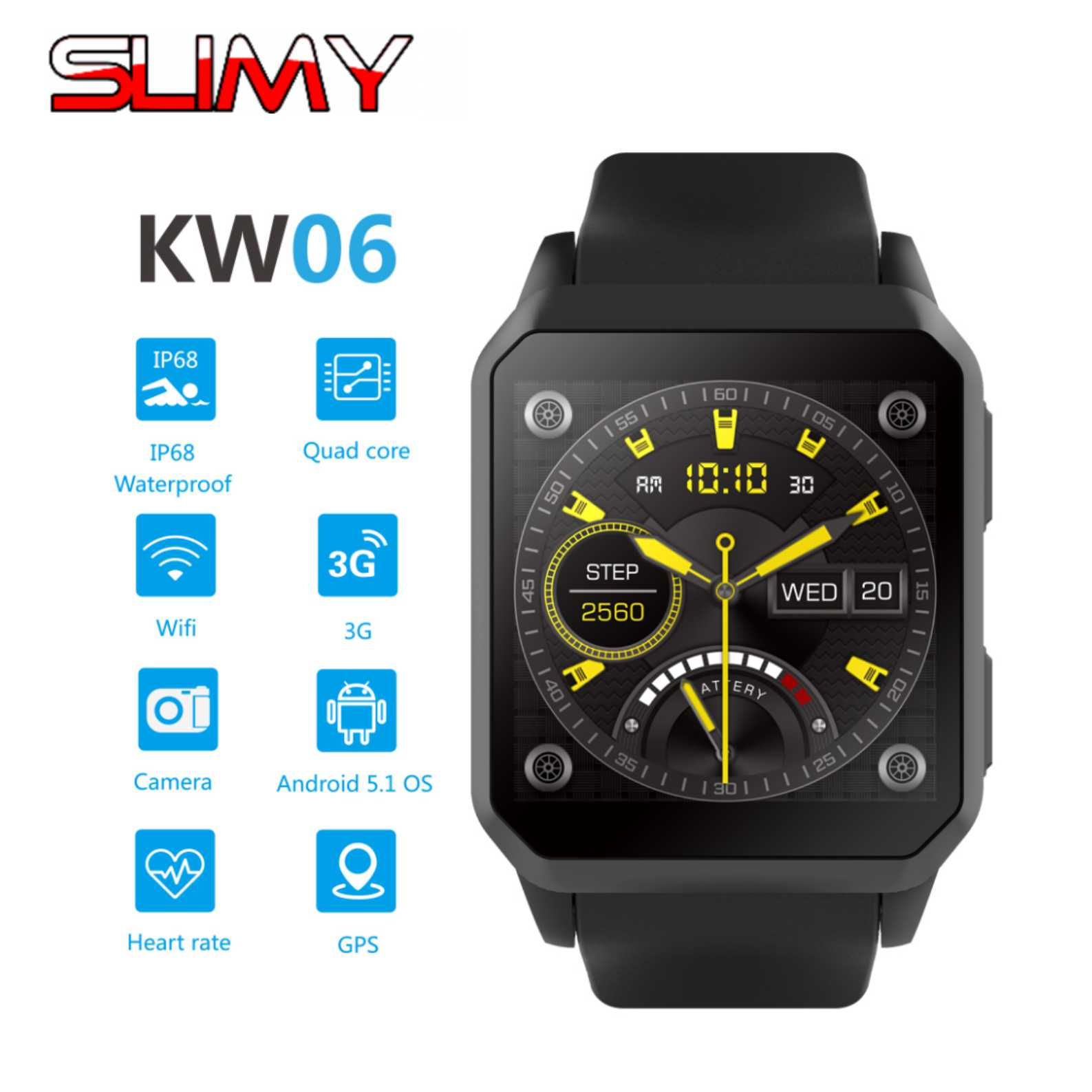 Slimy Android 5.1 Smart Watch 3G IP68 Waterproof MTK6580 8GB Bluetooth SIM WIFI Phone GPS Heart Rate Monitor Wearable Devices bluetooth 4 0 smart watch android 4 4 sim no 1 d7 smartwatches 500mah gps wifi 3g wearable clock devices heart rate pedometer