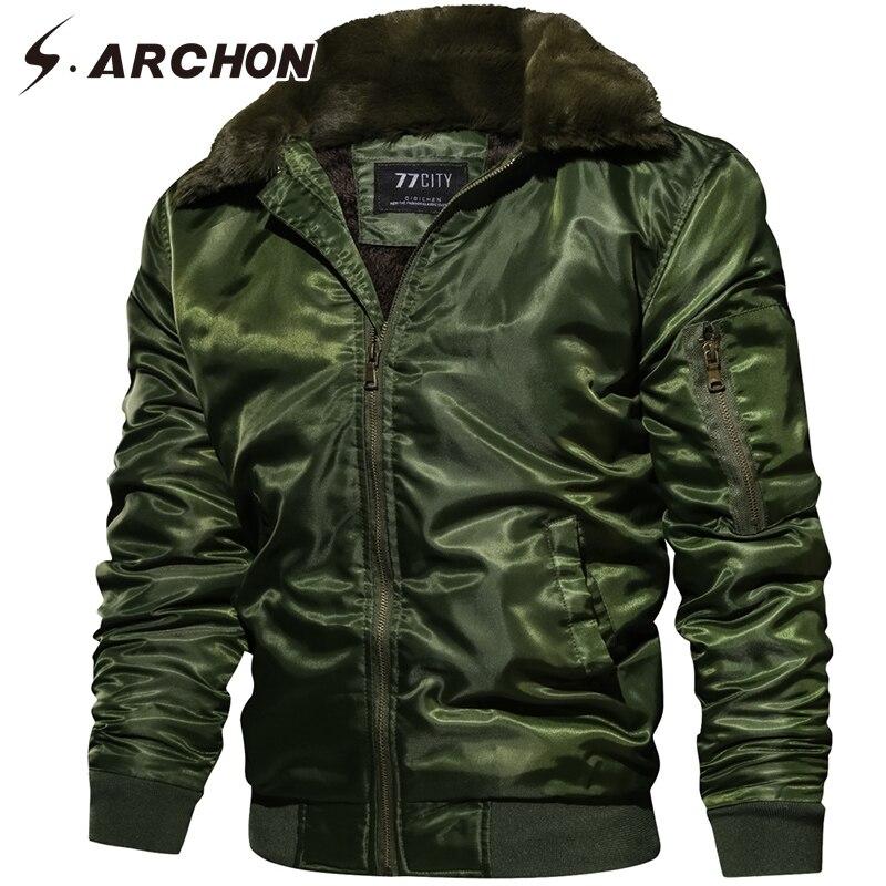 S. ARCHON новый зимний флисовый воротник куртки для мужчин курточка бомбер утолщаются Военная Униформа тактическая куртка осень теплая пилот