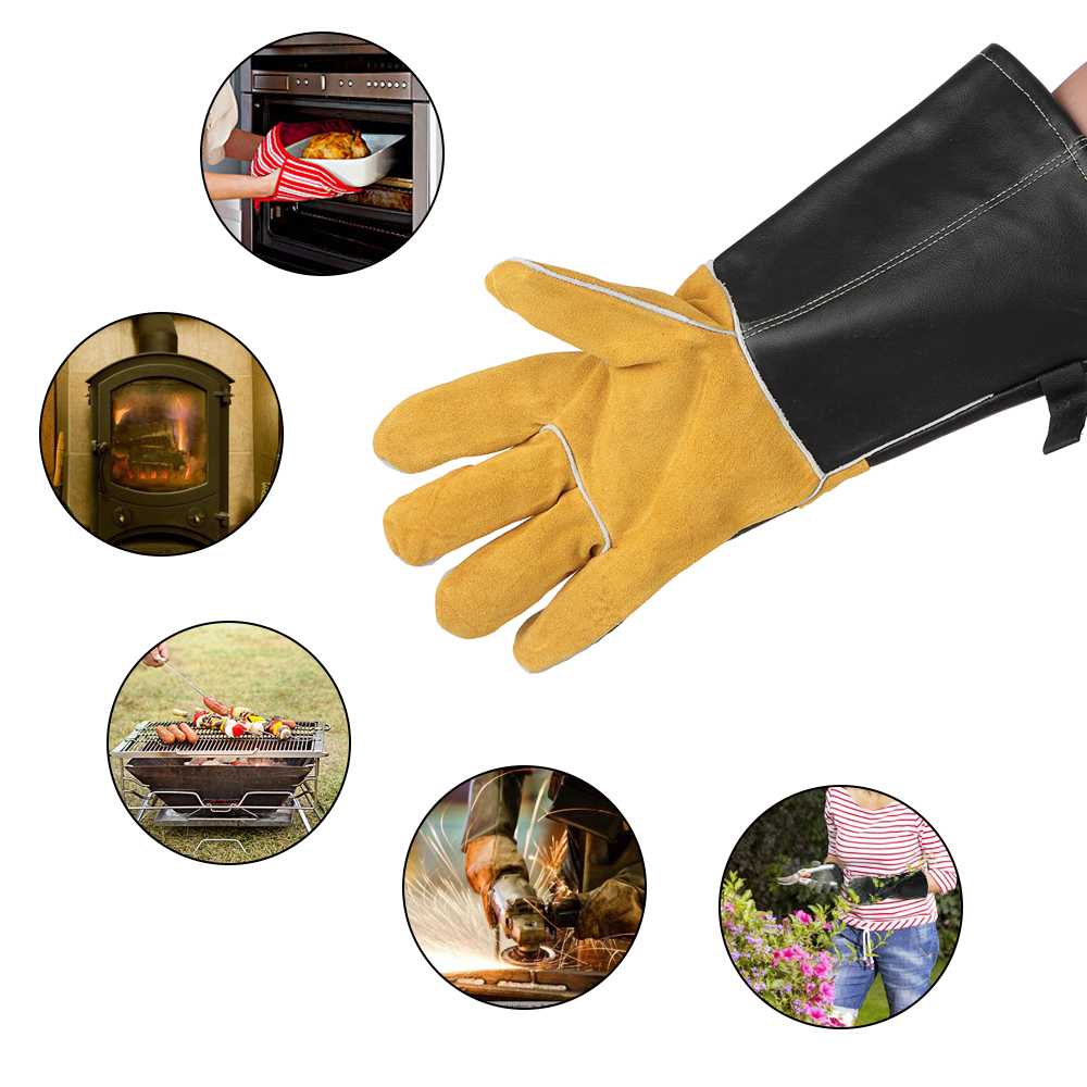 Acheter Grille de chaleur Four Gants Résistant À La Chaleur En Cuir BARBECUE Poêle de Cuisson Cuisson Barbecue Gant avec Vachette Anti glissement Patch De Protection gants de barbecue gloves fiable fournisseurs