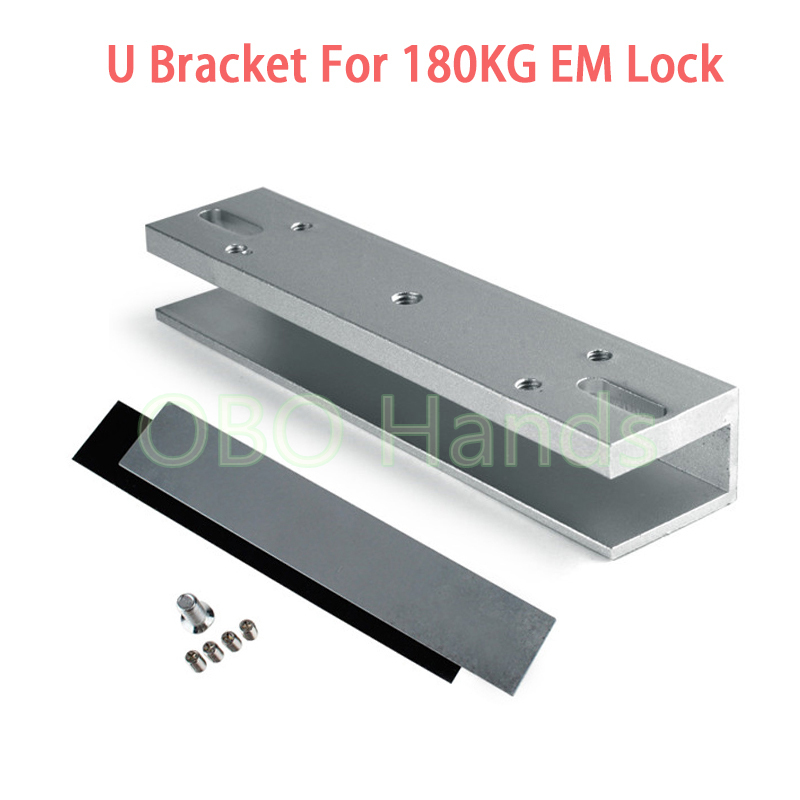 U type bracket for 180KG/350LBS electric magnetic lock EM lock frameless glass for door access control magnetic lock accessories x6 rfid door entry system 180kg magnetic lock and u bracket for glass door