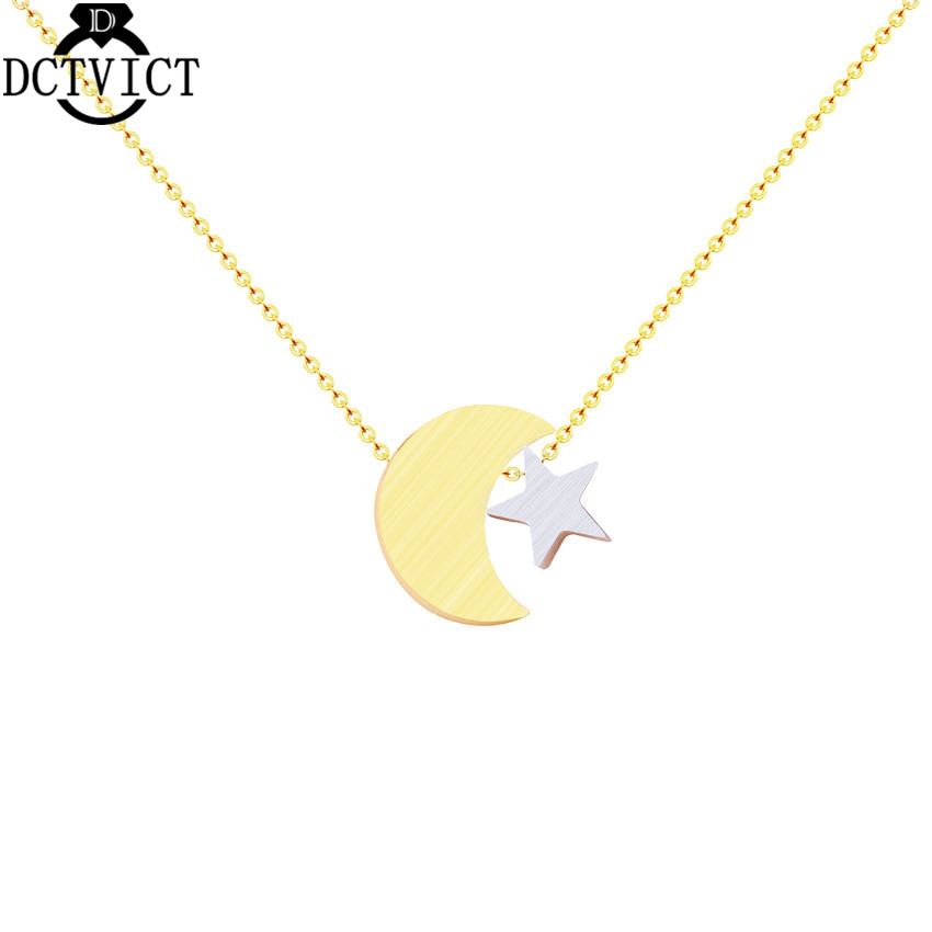 GORGEOUS TALE 10pcs  Maxi Punk Star Moon Brand Jewelry Men Necklace Gold Chain Crescent Pendant Holidays Gift