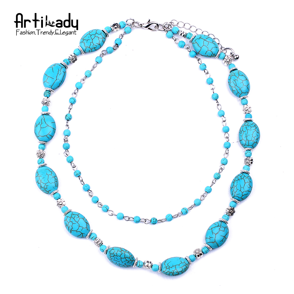 artilady turquoise choker necklace fashion silver