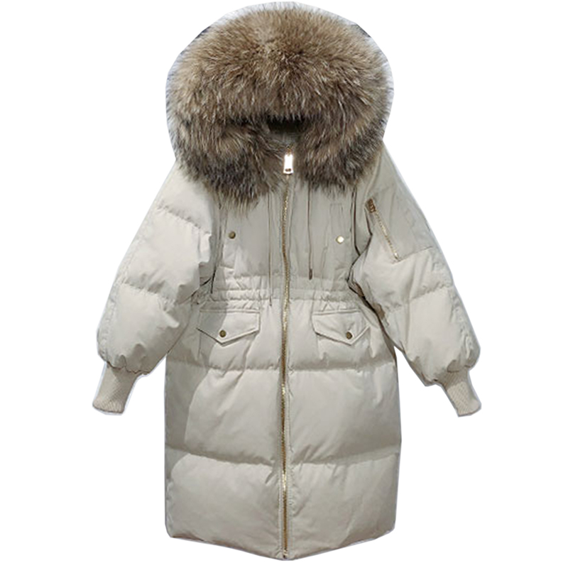 Big Real Raccoon Fur Winter New Jacket Women Parkas For Female White Duck Down Coat Thick Warm Hooded Women Winter Down Jacket