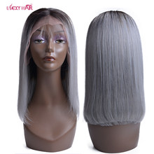 Lace Frontal Wig For Women 1B/Grey Short Bob Wig Brazilian Straight Remy Hair USEXY Lace Front Human Hair Wigs(China)