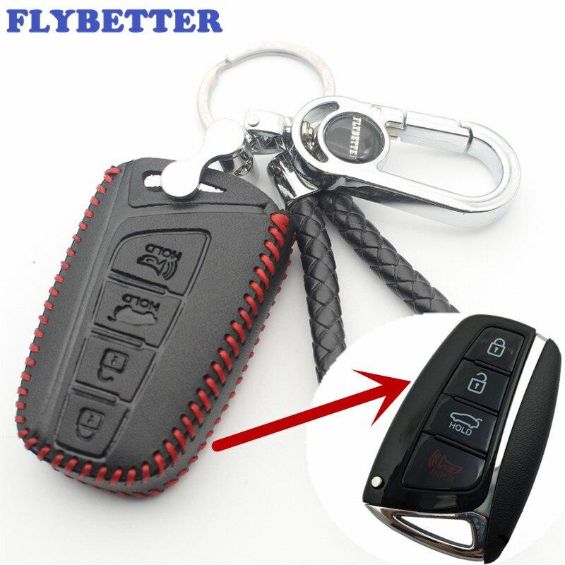 FLYBETTER Véritable En Cuir 4 Bouton Smart Cover Case Clés Pour Hyundai SantaFe/Equus/Azera/Genèse Car Styling (B) l89