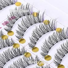 2015 Top Fashion Sale Beauty Maquiagens Unique Handmade 10 Pairs Makeup False Eyelashes With Purple Eye Lashes Cosmetics