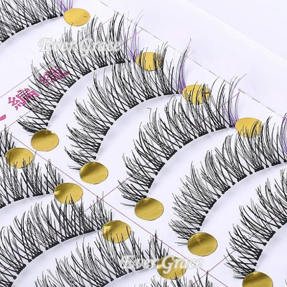 Makeup False Eyelashes 10 Pairs PCS Long Soft Handmade Fake Eye Lash Extensions Natural Purple Lashes