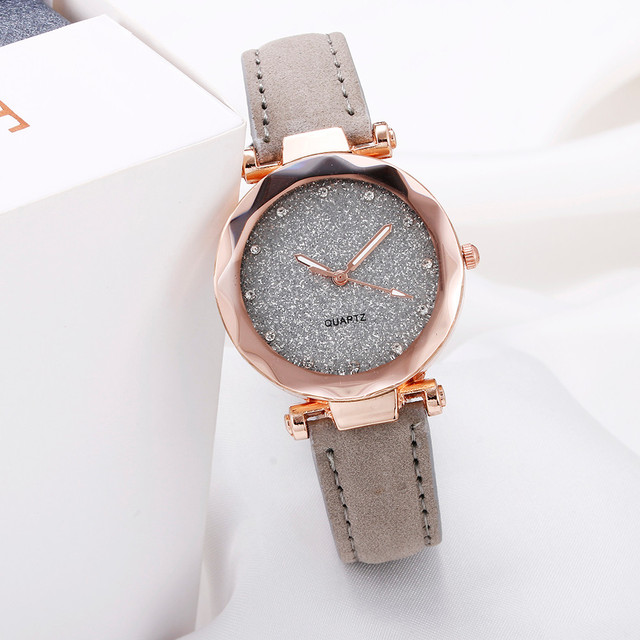 Ladies Minimalist fashion Casual Romantic Starry Sky Wrist Watch Leather Rhinestone Ladies Strap Watch Souvenir Birthday Gifts 1