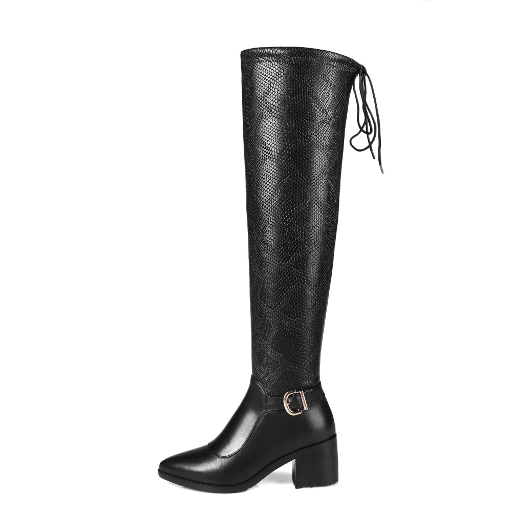 New Fashion Women Knee High Boots Nice Round Toe Square Heels Boots Elegant Black Shoes Woman US Size 4-13