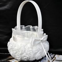 Wedding Ceremony Party Flower Basket Love Case Satin Bowknot And Rose Flower Basket Wedding Party Supplies