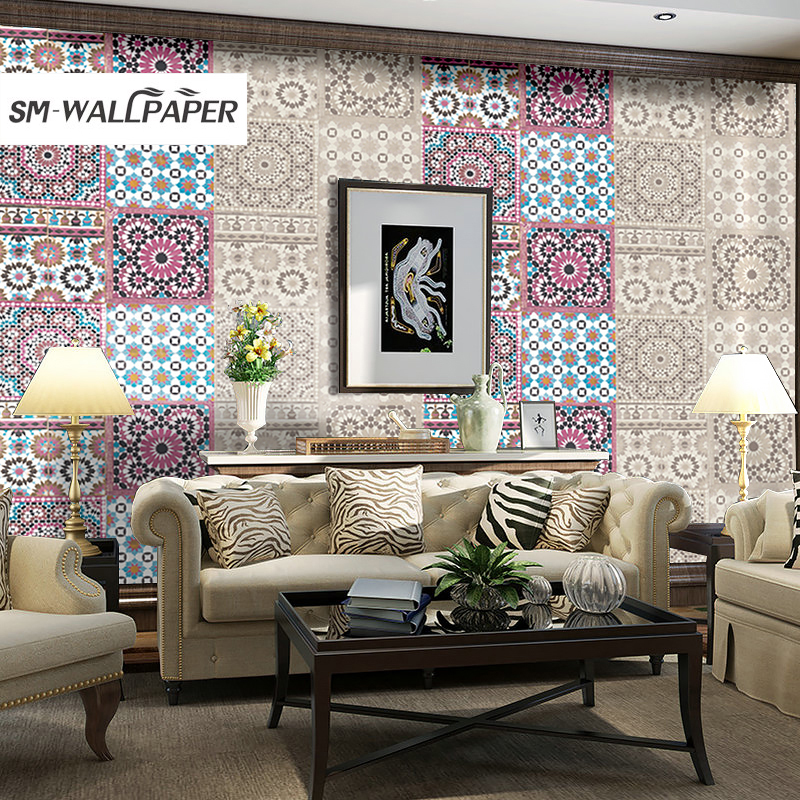 New Damask Geometric Colorful Wallpaper Embossed Flower PVC Vinyl Wall Stickers Country Style for Living Room Background Decor