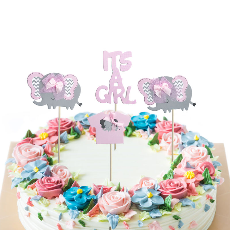 4pcs Boy Girl Elephant Cupcake Topper Set Kids Birthday ...