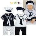 Мальчик одежды ползунки матрос флот короткими рукавами ребенка комбинезон в шляпе новорожденный спецодежда мальчик комплект одежды 2015